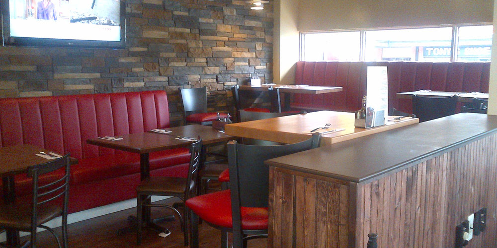 Newly renovated seating at Joey's Crowfoot