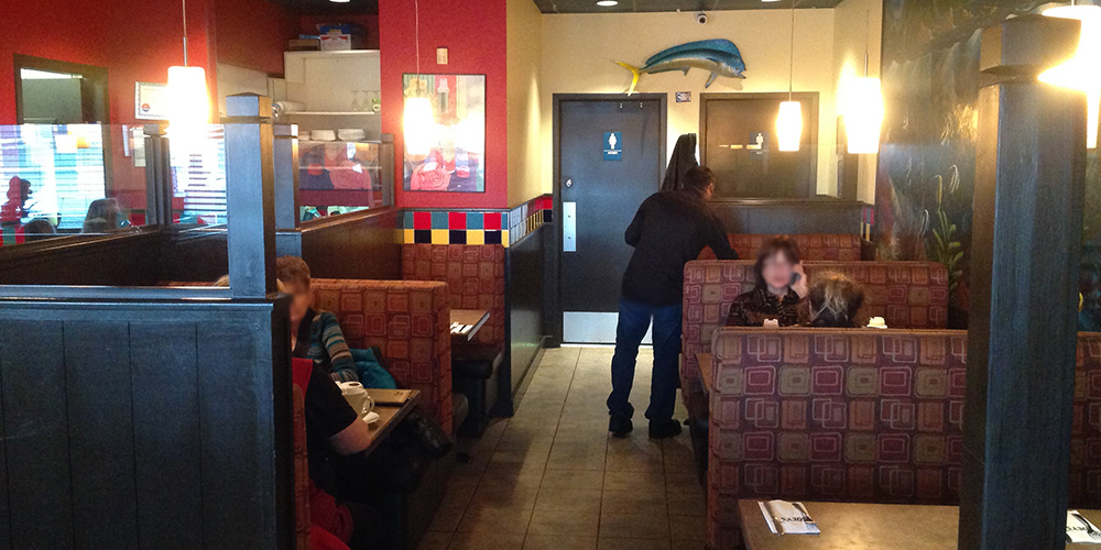 Booth seating for customers of Joey's Spruce Grove