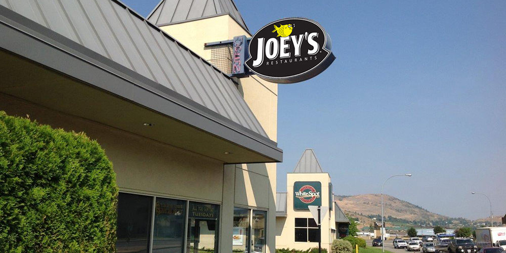 Just look for the Joey's sign to find us in Vernon