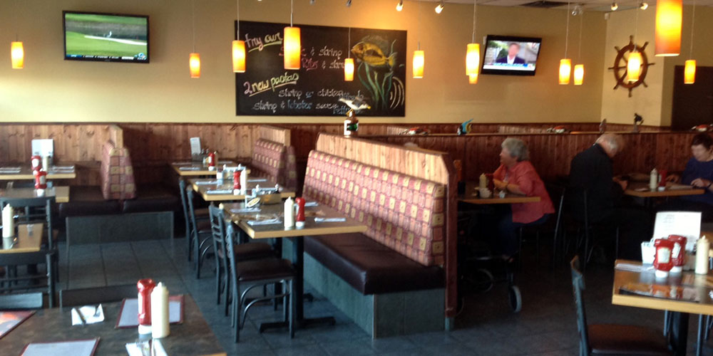 Chalkboard specials and seating at Joey's in Thunder Bay