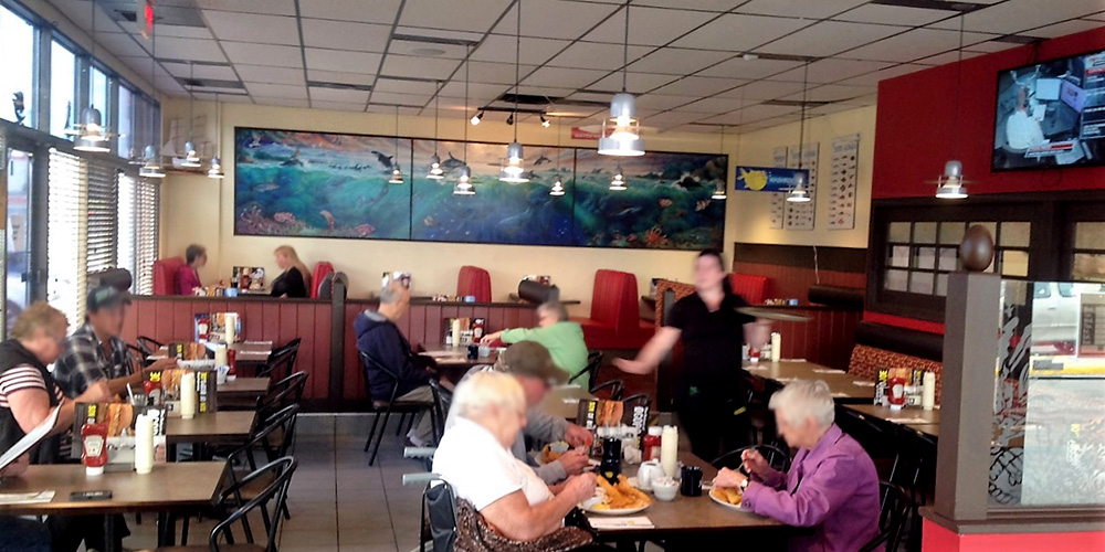 Customers dining at Joey's Worobetz